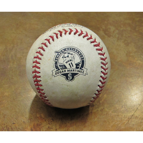 Photo of Game-Used Baseball With Martinez # Retirement Logo: Pitcher: Ramirez, Batter: Revere - Ground Out, Batter:  Trout - Single - 8-12-17