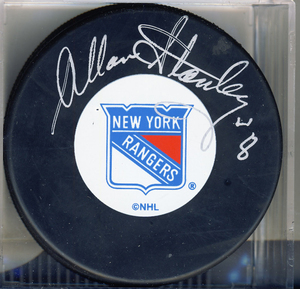 Allan Stanley New York Rangers Autographed Hockey Puck *Autograph Slightly Fuzzy*