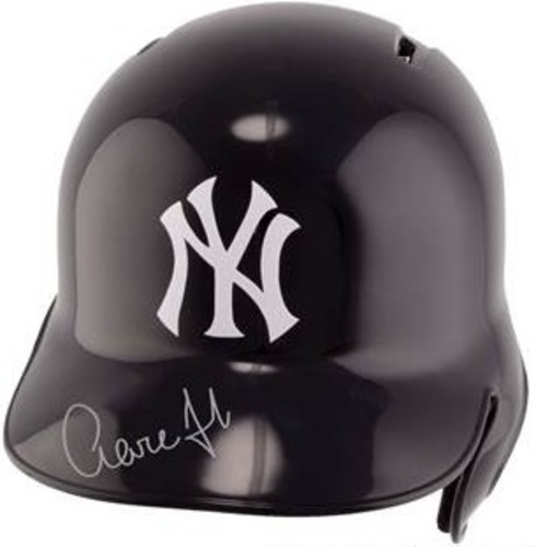 Photo of Aaron Judge Autographed Yankees Helmet