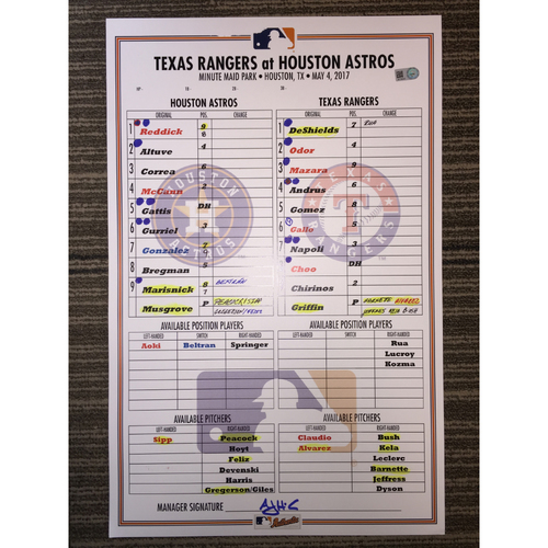 Photo of Astros vs Rangers, 5/4/17 Game-Used Lineup Card