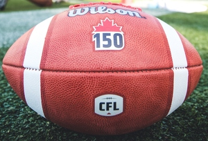 Game used Canada 150 ball from B.C. Lions at Toronto Argonauts June 30, 2017