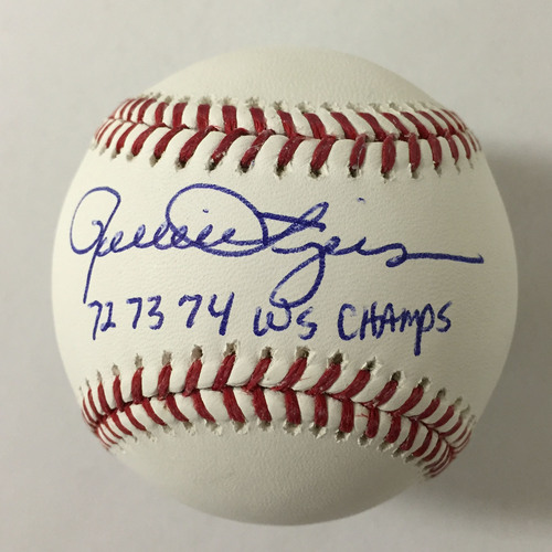 "Photo of Rollie Fingers Autographed ""72,73,74 WS Champs"" Baseball"