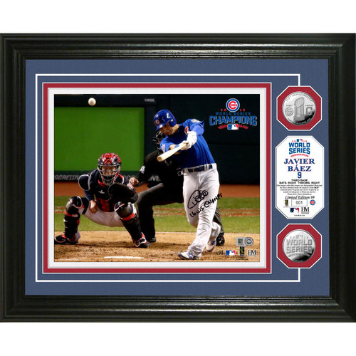 "Photo of Serial #1! Javier Baez Autographed ""2016 WS Champs"" Silver Coin Photo Mint"