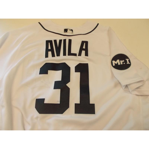 Photo of Game-Used Alex Avila Home Jersey: 2017 Opening Day