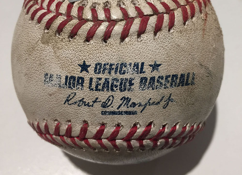 Photo of Game-Used Baseball from Game in which Clayton Kershaw Recorded 300th Strikeout of Season (Pitched by Kershaw)