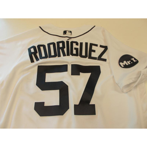Photo of Game-Used Francisco Rodriguez Home Jersey: 2017 Opening Day