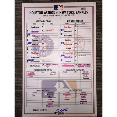 Photo of Astros at Yankees, 5/12/17 Game-Used Lineup Card