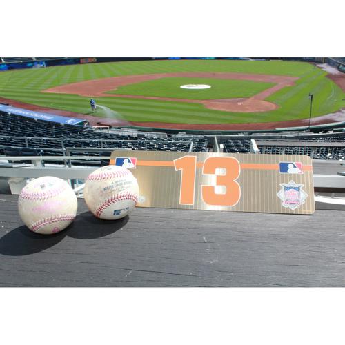 Photo of Manny Machado Set: #13 Visiting Locker Plate and Two Game Used Baseballs (May 12-14, 2017)