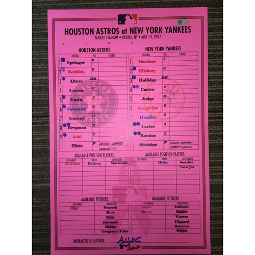 Photo of Astros at Yankees (Doubleheader Game 1), 5/14/17 Game-Used Lineup Card