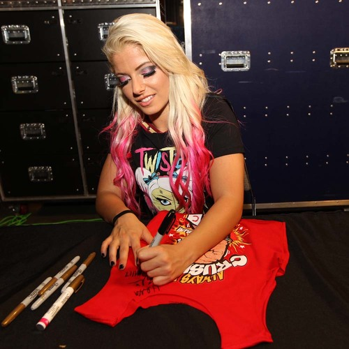 "Photo of Alexa Bliss WORN & SIGNED Connor's Cure ""Champ"" T-Shirt (Connors Cure - 09/04/17)"