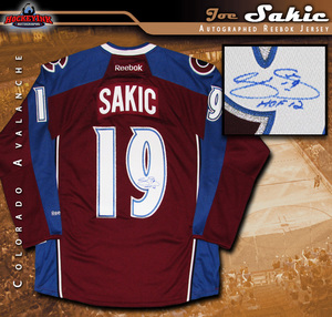 JOE SAKIC Signed Colorado Avalanche Reebok Burgundy Jersey with HOF 12 Inscription