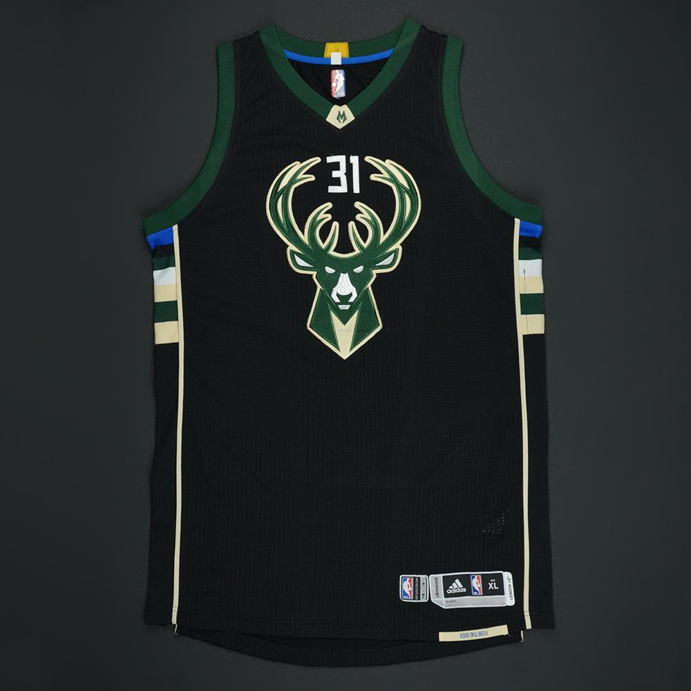 John Henson - Milwaukee Bucks - Black Playoffs Game-Worn Jersey - Dressed, Did Not Play - 2016-17 Season