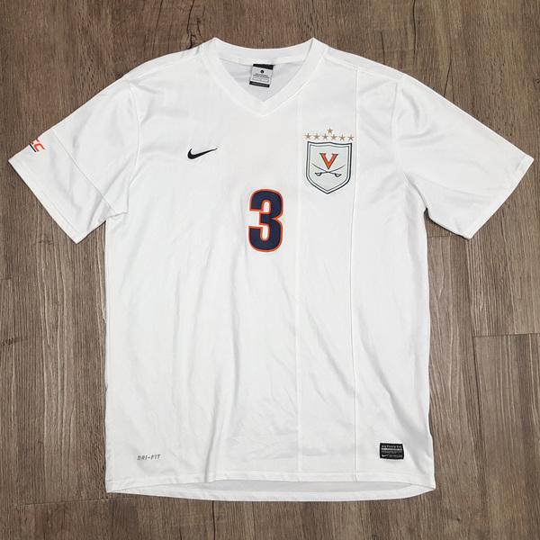 2014 National Championship Game-Worn University of Virginia Men's Soccer Jersey: White #3