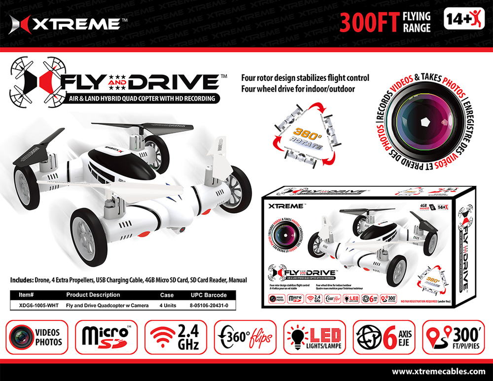 Xtreme Cables Fly And Drive Quadcopter With HD Camera