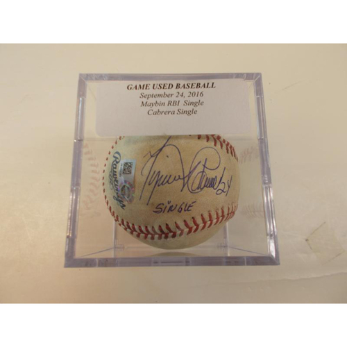 Photo of Autographed Game-Used Baseball: Miguel Cabrera Single and Cameron Maybin RBI Single