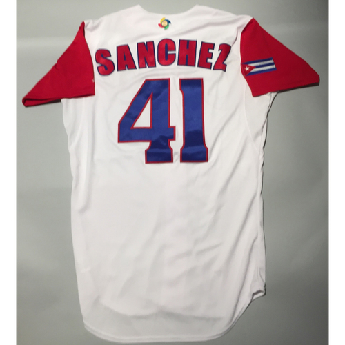 Photo of 2017 WBC: Cuba Game-Used Home Jersey, Sanchez #41