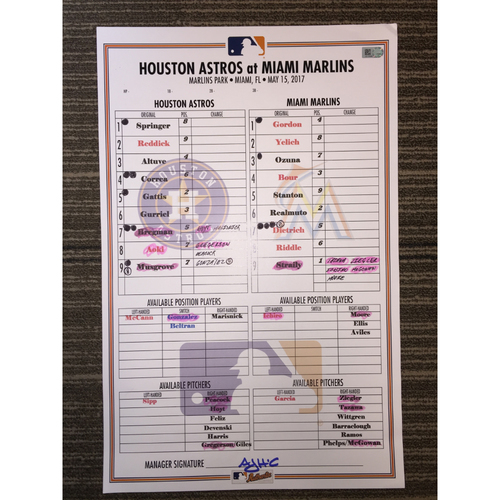 Photo of Astros at Marlins, 5/15/17 Game-Used Lineup Card