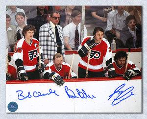 Bobby Clarke, Barber & Leach Signed Philadelphia Flyers LCB Bench 8x10 Photo