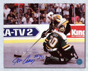 Jon Casey Minnesota North Stars Autographed Cup Finals vs Mario 16x20 Photo