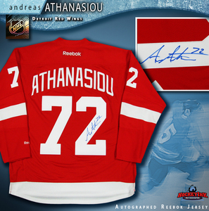 ANDREAS ATHANASIOU Signed Detroit Red Wings Red Reebok Jersey