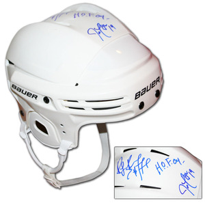 Ray Bourque & Joe Thornton Autographed Bauer Hockey Helmet (Boston Bruins, San Jose Sharks)