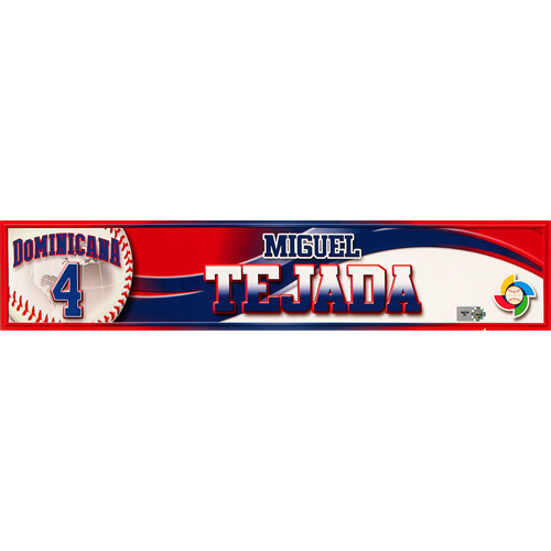 2013 World Baseball Classic: Miguel Tejada (DR) Game-Used Locker Name Plate