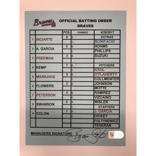 Photo of Game-Used Coach's Game-Used Batting Order Card - Braves at Brewers - April 28, 2017