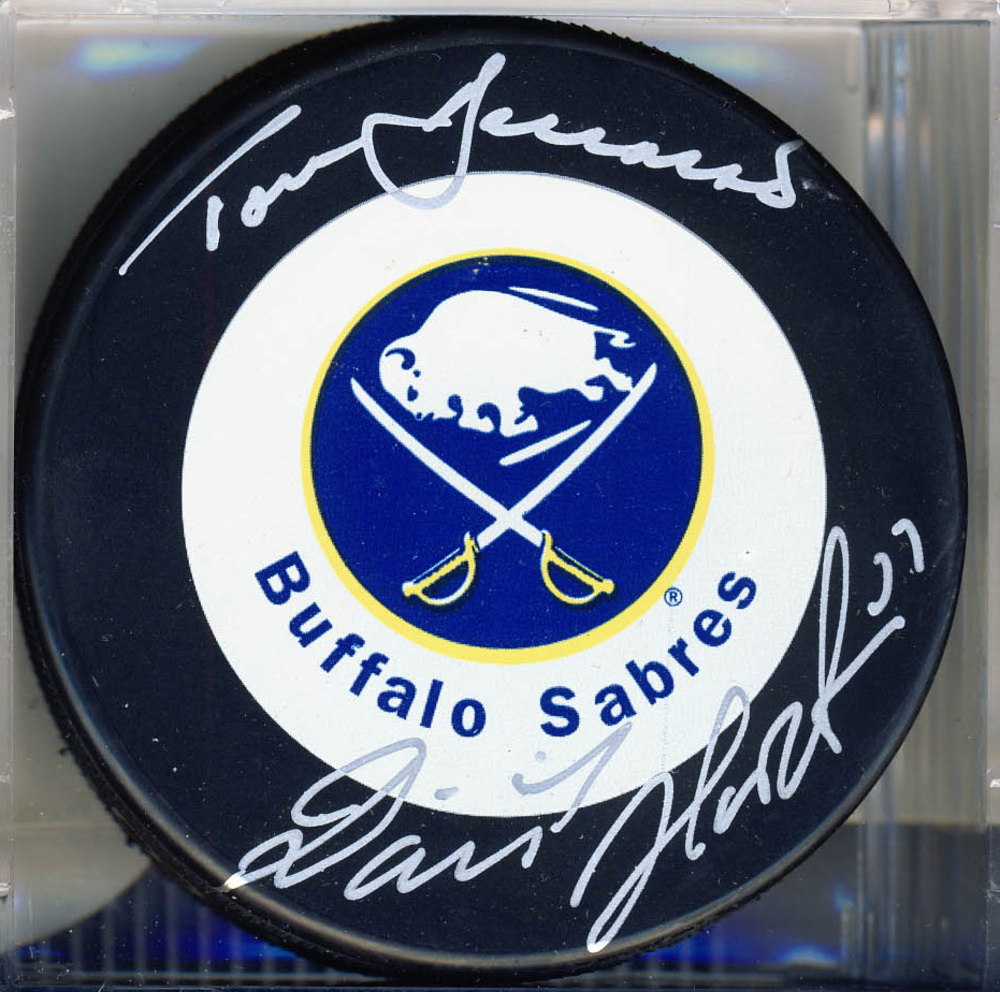 Dominik Hasek & Tom Barrasso Dual Signed Buffalo Sabres Vezina Winners Puck