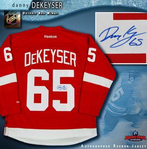 DANNY DEKEYSER Signed Detroit Red Wings Red Reebok Jersey