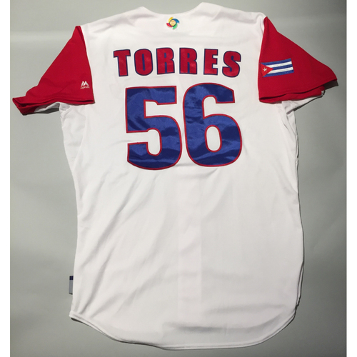 Photo of 2017 WBC: Cuba Game-Used Home Jersey, Torres #56