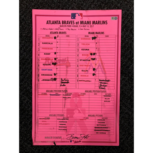 Photo of 2017 Mother's Day Game-Used Lineup Card - Braves at Marlins - May 14, 2017