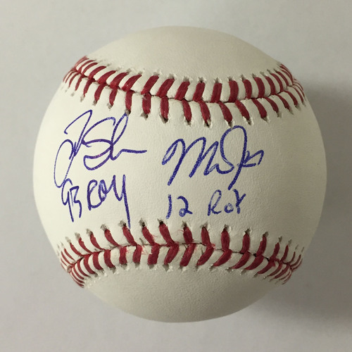 "Photo of Mike Trout ""12 ROY"" & Tim Salmon ""93 ROY"" Dual ROY Autographed Baseball"