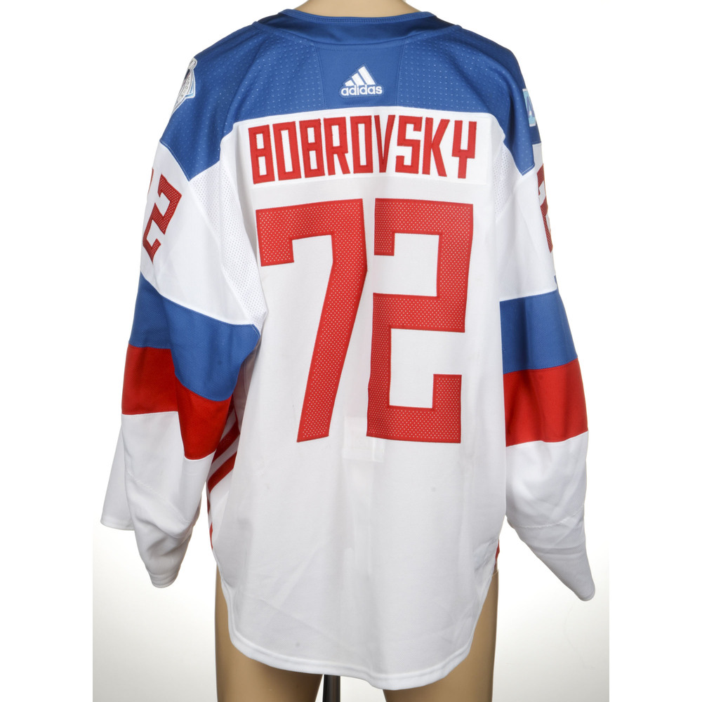 Sergei Bobrovsky Columbus Blue Jackets Game-Worn 2016 World Cup of Hockey Team Russia Jersey, Worn Against Team North America On September 19th