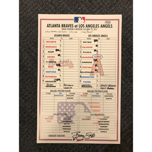 Photo of 2017 Memorial Day Game-Used Lineup Card - Braves at Angels - May 29, 2017