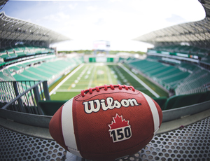 Game used Canada 150 ball from inaugural game at the new Mosaic Stadium, Winnipeg Blue Bombers at Saskatchewan Roughriders July 1, 2017