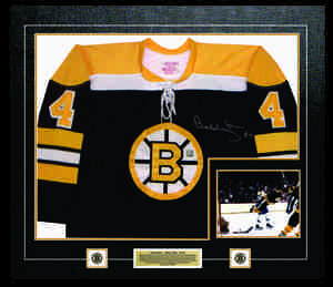 Bobby Orr - Signed & Framed Jersey - Boston Bruins Black With Gold Featuring 2 Pins & Plate & Photo