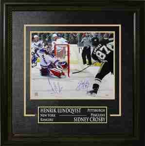 Sidney Crosby & Henrik Lundqvist - Dual-Signed & Framed 16x20 Etched Mat - New York Rangers & Pittsburgh Penguins Action