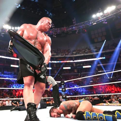 Brock Lesnar & Paul Heyman SIGNED Steel Chair used in