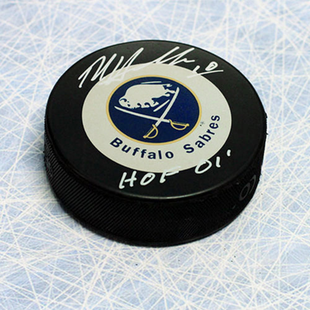 Dale Hawerchuk Buffalo Sabres Autographed Hockey Puck w/ HOF Note