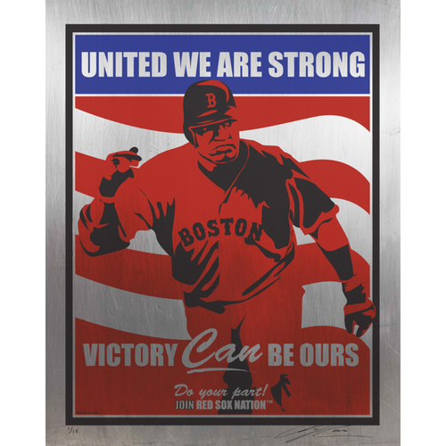 Photo of David Ortiz Boston Red Sox Handmade Serigraph on Stainless Steel, Limited edition #4 of 10. Signed by Artist