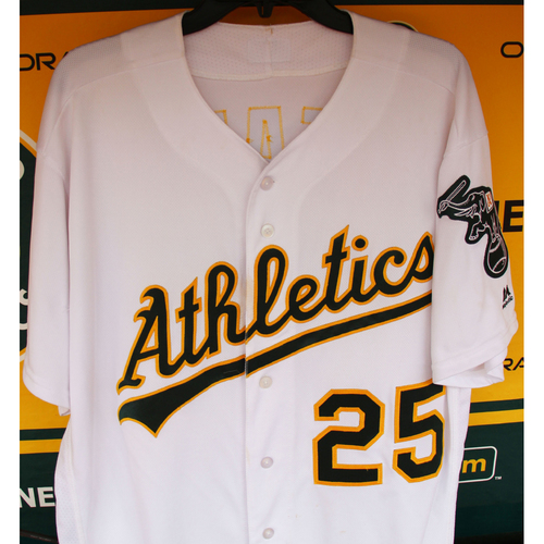 Photo of Ryon Healy Game-Used Jersey: 2-HR's (12&13), 5 RBI