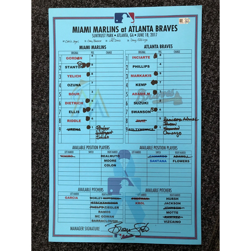 Photo of 2017 Father's Day Game-Used Lineup Card - Marlins at Braves - June 18, 2017