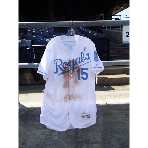 Photo of Game-Used Whit Merrifield Father's Day Jersey (Size 46) 6/19/16