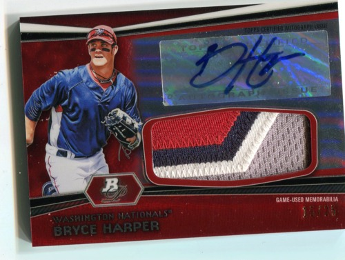Photo of 2012 Bowman Platinum Jumbo Relic Autograph Red Refractors Bryce Harper 15/25 -- Only 25 made