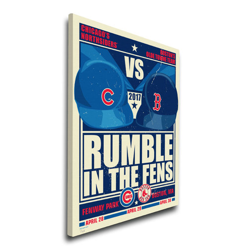 Photo of Chicago Cubs vs. Boston Red Sox 2017 Battle in the Fens - Limited Edition Print #1 Sports Propaganda on Canvas