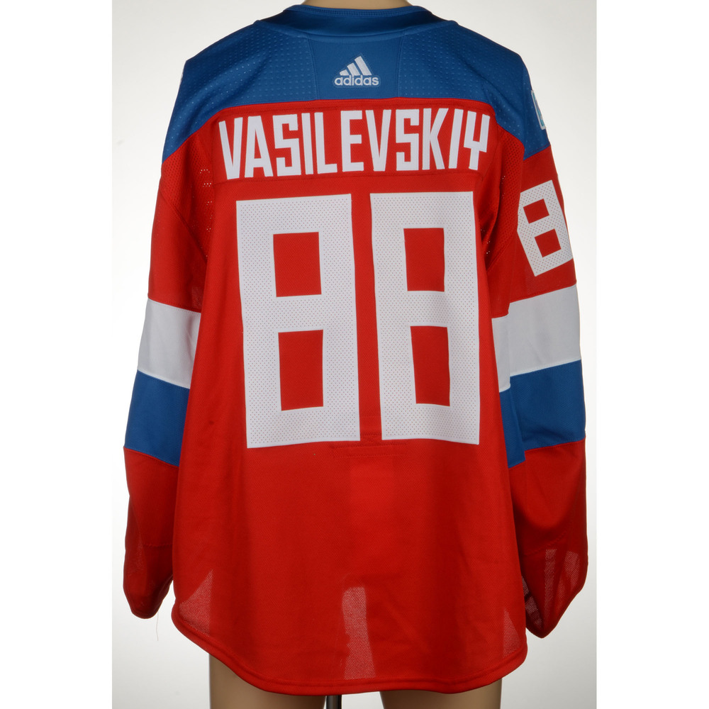Andrei Vasilievskiy Tampa Bay Lightning Player-Issued 2016 World Cup of Hockey Team Russia Jersey