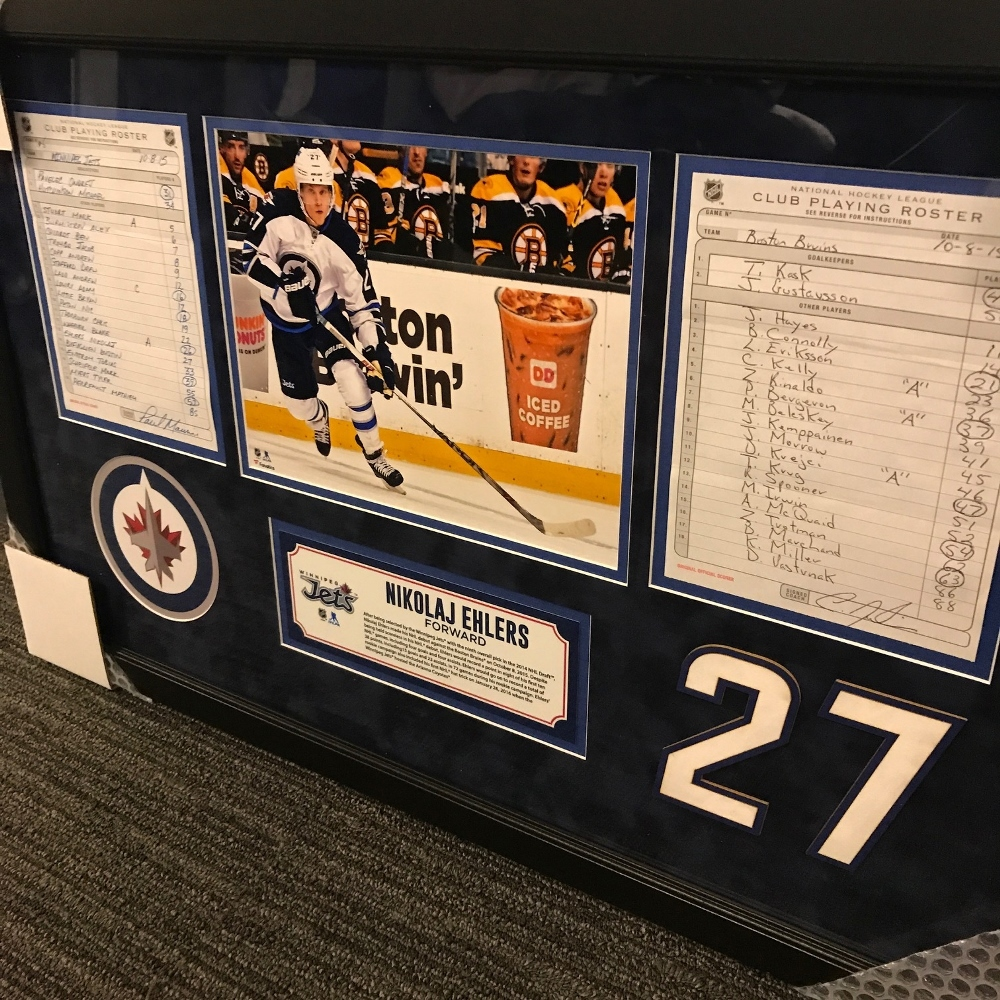 WINNIPEG JETS FRAMED ORIGINAL LINE-UP CARDS FROM OCTOBER 8, 2015 VS. Boston Bruins - NIKOLAJ EHLERS 1ST CAREER GOAL