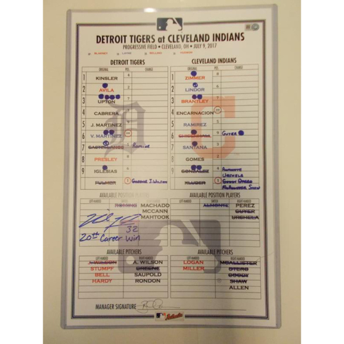 Photo of Autographed Game-Used Line-Up Card: Michael Fulmer's 20th Career Win