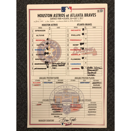 Photo of July 5, 2017 Game-Used Lineup Card - Astros at Braves