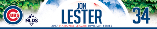 Photo of Jon Lester Game-Used Locker Nameplate -- NLDS Game 3 -- Nationals vs. Cubs -- 10/9/17
